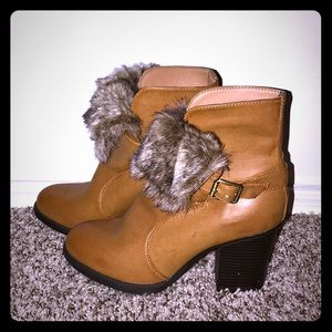 Brand New! Camel Color Booties with Faux Fur